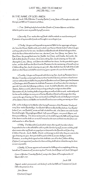 Last Will and Testament of Jacob Hill - 1797 (2nd generation on the Hill Homestead).