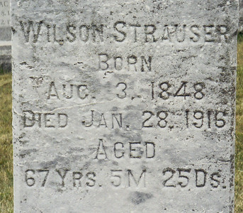 tombstone of Wilson Strauser, b. 3 aug 1848, d. 28 jan 1916. (Grandfather of Gertrude Strausser Hill).