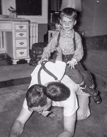 Robert Humma with nephew David Huber (sitting upright) and Bruce Fisher, Nov 1954.