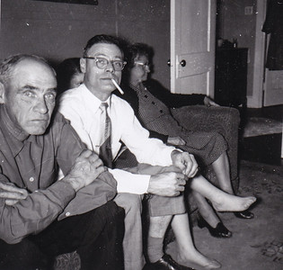 Henry, Raymond, Marian (Werner) (behind Ray) and 'Stella' (Wien) Humma, Nov 1954.