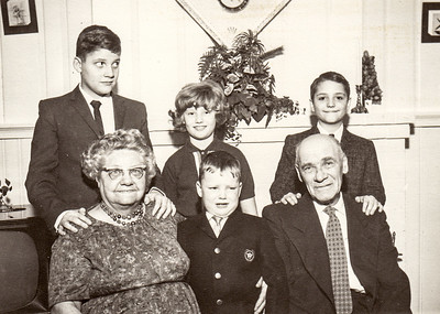 Stella (Wien) and Henry Humma with grandchildren; David Fisher, Jeb Humma, Kathy Humma and Bruce Huber. 1964 at Ann's house at 304 West Douglass St., Reading, PA.