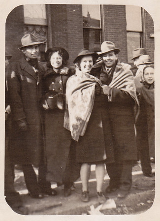 Walter and Verna (Humma) Johnston (left). Ann Huber says the other couple is Miriam Palms (later Drumheller) and Bob Deysher. Can anyone verify this?