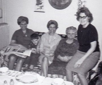 Ann (Humma) Huber, David (a friend), Verna (Humma) Johnston, Ida Estella 'Stella' (Wien) Humma and Evelyn (House) Nice (Ann & Verna's cousin). In Philadelphia, March 1966.