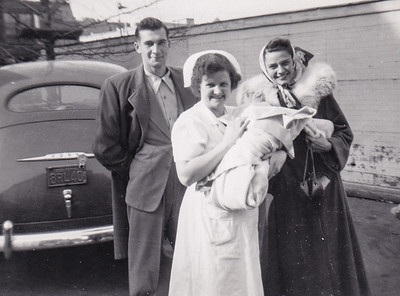 Harry and Ann (Humma) Huber bring baby David home, Nov 7, 1950.