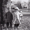 David Huber in his dragnet raincoat and hat, with cousin Bruce Fisher, Nov 1954.