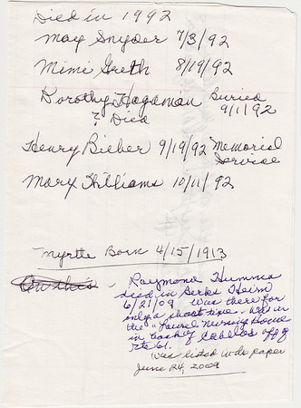 Verna (Humma) Johnston's handwritten notes: Died in 1992: May Snyder July 3, 1992. Mimi Greth (born Apr 15, 1913), Aug 19, 1992. Dorothy Hagaman, buried Sept 1, 1992. Henry Bieber, memorial service Sep 19, 1992. Mary Williams, Oct 11, 1992.  Raymond Humma, died in Berks Heim on Jun 21, 2009....