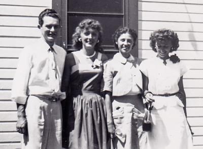 Staten Island Radio Station; Donald Rhoads, Margaret (?), Verna Johnston and Ruth Telka (?). July 24, 1949.