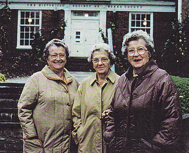 Laura Leinbach (center) from Reading East Cong., and Evelyn Greisemer. At Irene (Wanner) Waid's memorial service, July 24, 1999.