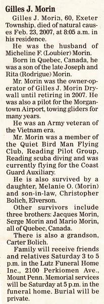 Gilles J. Morin died Feb. 23, 2007