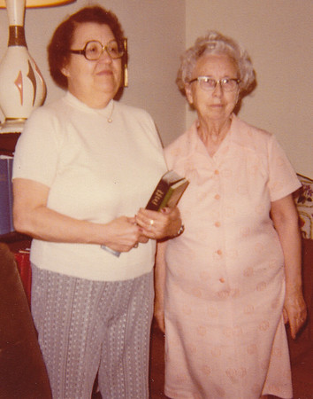 Irma Vize and Emily Klopp, 1980. In Sencit Townhouse Apartments, in Emily's living room.