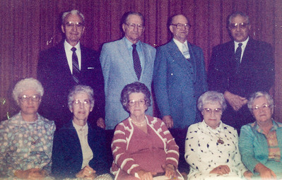 Left: Verna (Humma) Johnston. L-R couples: Melvin and Miriam Drumheller, Melvin and Mildred Strouse, Russell and Lucille Coultrup (Bethelites) and Joseph and wife Scaligione.