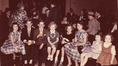 Some of the children at the 50th anniversary of Henry K. and Stella Humma, 1961; Bonnie Garis, Eddie Hagaman, Donny Hagaman, Cathy Humma, Sue Hagaman, Marlene Garis, (Kristin Seiger or Linda Glass??), and lastly (Hagaman cousin??).