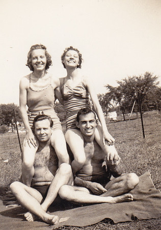 Ralph Bachman with Mimi Greth (Miriam??) (left couple) and Walter and Verna (Humma) Johnston (right couple), 1940