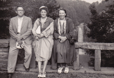 Elmer Shellhammer, Miriam Forrey (died 7/55 Ralph Forrey's wife) and Molly Shellhammer.