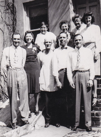 Walter and Verna Johnston (left). Back: Ronald Humma, Dorothy (Ruth) Humma, Stella (Wien) Humma, Floy (Duval) Humma. Front: Henry K. Humma, Robert Humma and Raymond Humma. 226 Carpenter St., Reading PA.