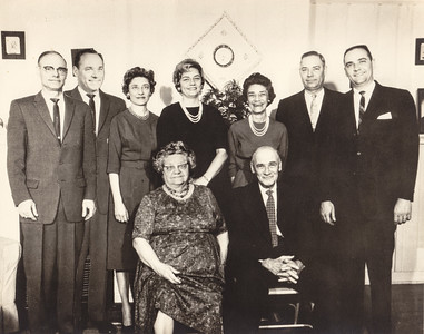 The Humma Family; Back: Raymond, Warren 'Mike', Verna Johnston, Anna 'Ann' Huber, Ruth Fisher, Robert and Ronny. Front: Stella (Wien) and Henry Humma, 1963.