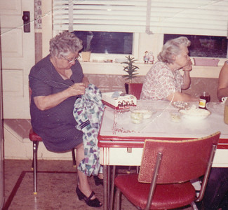 Stella (Wien) Humma with her sister Bertha (Wien) Yoder. Taken at Ruth (Wien) Bortz's home in St. Lawrence, PA.