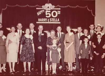 Henry K. 'Harry' and Stella Humma's 50th anniversary, 1961; Ronald and Marian (Werner) Humma, Verna (Humma) and Walter Johnston, Dorothy (Ruth) and Robert Humma, Henry K. Humma, Stella (Wien) Humma with Cathy Humma, Raymond and Floy (Duval) Humma, Melly and Ruth (Humma) Fisher with son Bruce, Harry and Ann (Humma) Huber with son David.
