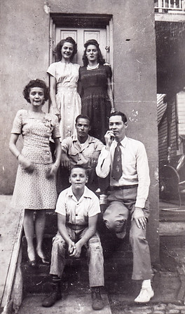 Ronald Humma (front). Middle: Ruth, Raymond (or Mike??) and Robert Humma. Back: Ann Humma and friend Ruth Levan(?)