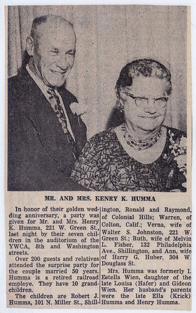 Henry K. and Stella (Wein) Humma's 50th annaversary - Reading Eagle Jan. 8, 1961.
