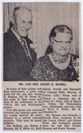 Henry K. and Stella (Wein) Humma's 50th annaversary - Reading Eagle Jan. 8, 1961.