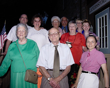 Ronald & Marian's 50th anniversary, Aug. 2002, outside 'Landis Store' restaurant. Front: Mildred (Yeich) Strouse, Raymond Humma, Beth Humma. Back row: Steve & Carol Werner, Verna Johnston, Ronald, Marian, Cathy and Lisa Humma.