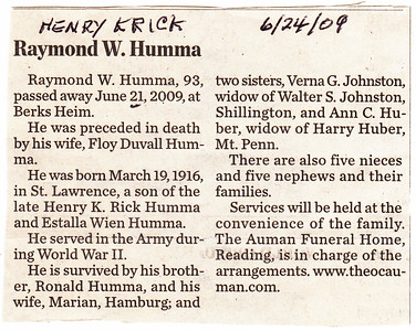 Raymond W. Humma, died June 21, 2009. NOTE: article says 'Rick', should be 'Krick'.