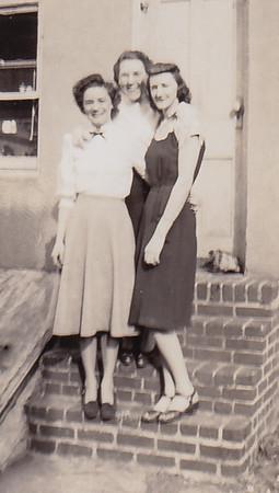 L-R: Ruth (Humma) Fisher, Dot Humma, Floy (DuVall) Humma, 226 Carpenter St., Reading, PA.