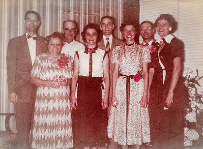 The Humma family: Robert Humma, Stella (Wien) and Henry Humma, Ruth (Humma) Fisher, Ronald Humma, Verna (Humma) Johnston, Raymond Humma, and Ann (Humma) Huber, at Ronald and Marian's wedding, Aug 16, 1952.