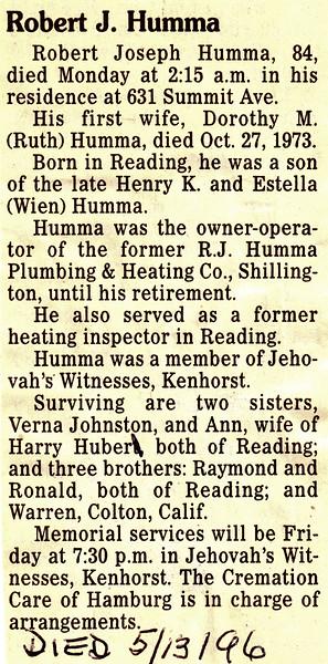 Robert Joseph Humma, died May 13, 1996.