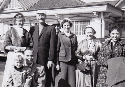 "Marie Bashore, Robert Humma, Pierce Wiest (back), Verna Johnston, Effie (Eiceman) Binkley, Henrietta Kopteros. Front: Ronald Humma with daughter Cathy. Oct 1957, Hershey, PA. ""Nearly froze, so cold in Oct."" (1957)"