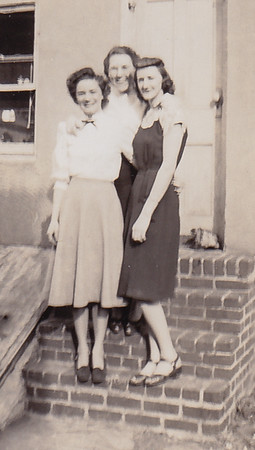 L-R: Ruth (Humma) Fisher, Dot Humma, Floy (DuVall) Humma, 226 Carpenter St., Reading, PA.