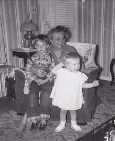 Ida Estella 'Stella' (Wien) Humma, with her grandchildren Dave Huber and Cathy Humma. 1954