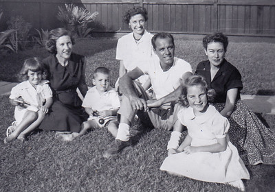 Gayle Humma, with her children Caren and Jimmy. Verna Johnston (back), Warren 'Mike' Humma. Judy (Humma's daughter) and Helen Rayden (Gayle's sister.)