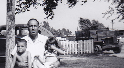 Walther Johnston with nephews Jimmy and Karen Humma in CA, 1954-55.