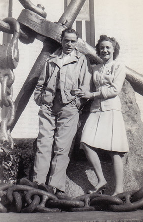 Warren 'Mike' Humma and his sister Ruth (Humma) Fisher, 165 K St. San Bernardino, CA. Feb 1947.