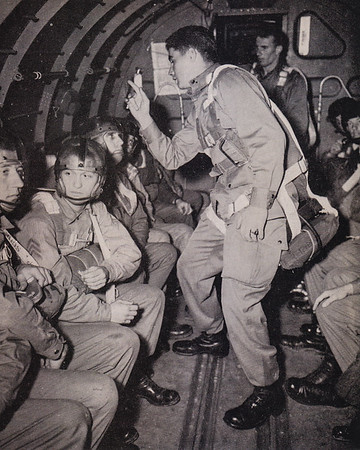 "Paratroopers, WWII. Mike Humma wrote on on the back says: ""Dont they all look happy!!! like hell they do."""