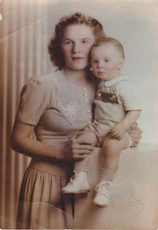 Dorothy Humma with son Gary. Dorothy was 'Mike' Warren Humma's 1st wife.  Was she a Bausher??