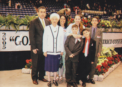 Verna (Humma) Johnston with Michael and Angela Gross (behind Verna) and Gross sons (right). Also a sister-frined and her son (blonds). 2005 District Convention.