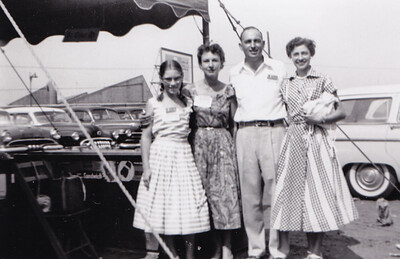 L-R: girl?, woman?, Walter and Verna (Humma) Johnston, July 1955.