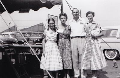 L-R: girl?, woman?, Walter and Verna (Humma) Johnston, July 1955.