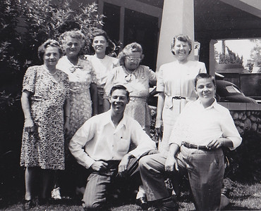 Back: Katie Strouse, Ada McDonough, Verna (Humma) Johnston, Stella (Wien) Humma, Dorothy (Ruth) Humma. Fornt: Robert and Ronald Humma. Aug 15, 1947, Pasadena, CA.