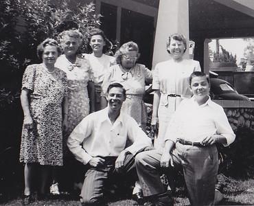 Back: Katie Strouse, Ada McDonough, Verna (Humma) Johnston, Stella (Wien) Humma, Dorothy (Ruth) Humma. Fornt: Robert and Ronald Humma. Aug 15, 1947, Pasadena, CA.