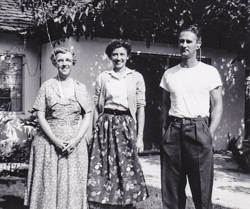 Elmer Humma's wife with Verna (Humma) Johnston and Elmer Humma. Van Nuys, CA, 1954.