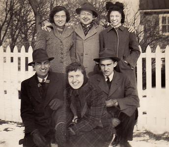 Front row, L-R: Walter Johnston, ? , Donald Wiest. Back row, L-R:  possibly Pearl Wiest (later Blado)?? , Bob Deysher, Verna (Humma) Johnston.