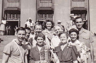 L-R front: Robert Humma, Mary Smith, and who? 2nd row: Harold Johnston (behind Robert), Bob Deysher, Ruth Smith (later Hagaman), Florence Miller (white blouse), Verna (Humma) Johnston, Walter Johnston (behind Verna).