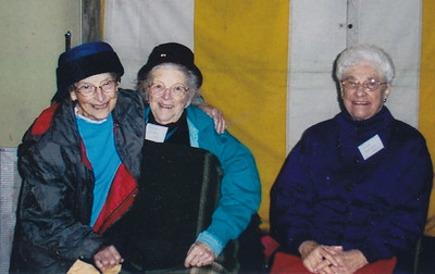 Mildred Strouse (age 89) with a  93 year old sister, and Verna Johnston (age 85) - all still supporting Kingdom Hall construction. Dec. 2004.