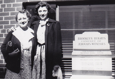 Sara Moyer and Verna Johnston, outside 124 Columbia Heights, Brooklyn, NY, Bethel, in 1950.