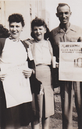 Mildred Strouse (middle) with Walter Johnston (right).