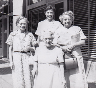 Verna's aunt Katie Strouse, Alice Howe, Stella Humma and Verna Johnston, June 1954 in Richmond, VA.
